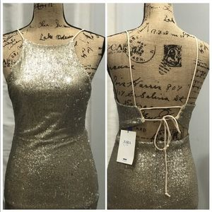 Zara gold sequined dress size L